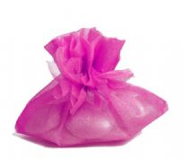 Pack Of 10 Fuchsia Petal Top Organza Pouches